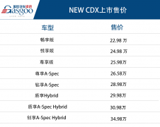 广汽讴歌NEW CDX正式上市  售价22.98万~34.98万